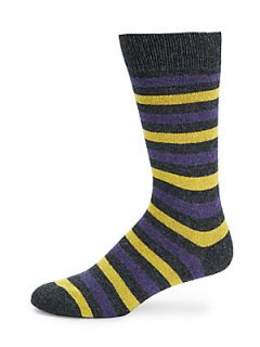 Multistriped Mid Calf Socks   Charcoal Yellow