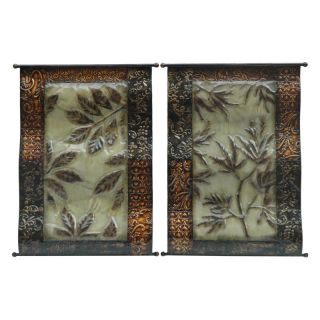 Crestview Collection Bronze Leaves Wall Plaque   Set of 2   CVTWA1128