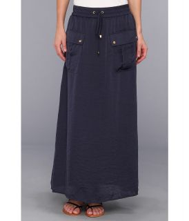 MICHAEL Michael Kors Maxi Safari Pocket Skirt Womens Skirt (Navy)