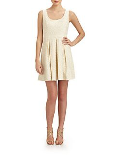 Sleeveless Pleated Lace Dress   Ivory