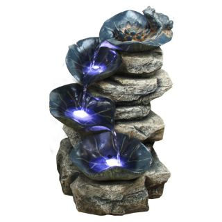 Alpine 4 Tier Rock Fountain with LED Lights Multicolor   WIN498