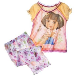 Dora the Explorer Toddler Girls 2 Piece Short Sleeve Pajama Set   Yellow 2T