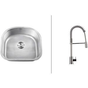 Ruvati RVC2471 Combo Stainless Steel Kitchen Sink and Chrome Faucet Set
