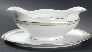 Heinrich   H&C Greek Key Green Gravy Boat with Attached Underplate, Fine China D