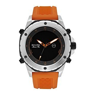 Bulova Marine Star Mens Orange Rubber Strap Alarm Watch