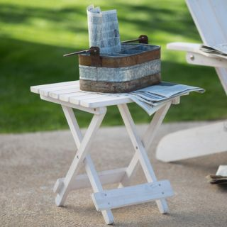 Coral Coast Folding Side Table   Whitewash Stain   DDP 0918WW