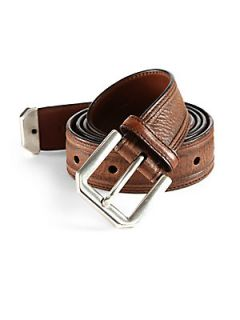 Brunello Cucinelli Ribbed Leather Belt   Cognac