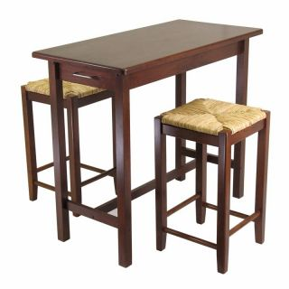 Winsome Wood 3 Piece Pub Set with Rush Stools Multicolor   94374