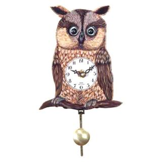 Alexander Taron Importer Black Forest Owl Eye 5.75 Inch Wide Wall Clock   204QP