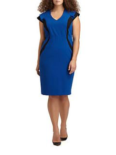 Colorblock Sheath Dress   Blue