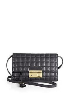 Michael Kors Quilted Leather Clutch   Black