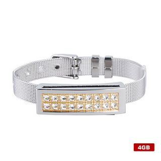 4GB Crystal Diamond Style USB Flash Drive Bracelet (Silver)