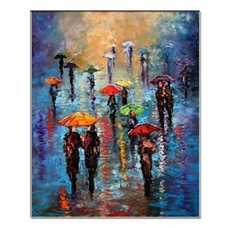 Hand Painted Abstract People Oil Painting by Knife with Stretched Frame Ready to Hang