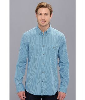 Calvin Klein L/S Yarn Dyed Mini Gingham Check Button Down Shirt Mens Long Sleeve Button Up (Blue)