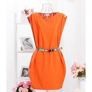 Womens Round Neck Sleeveless Chiffon Dress(Belt Included)