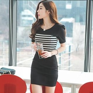 Womens Stripe Slim Mini Dress