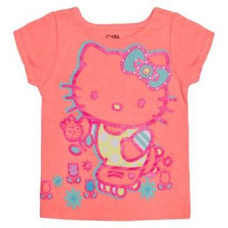 Hello Kitty Infant Toddler Girls Short Sleeve Tee   Apricot Orange 4T