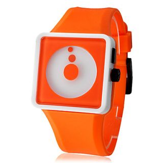 Unisex Creative Two Dot Dial Silicone Band Quartz Analog Wrist Watch (Orange)