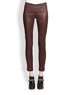 Brunello Cucinelli Leather Pants   Burgundy