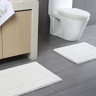 Bath Rug 1 Piece Set Modern Solid Color Rectangle Print   4 Colours Available