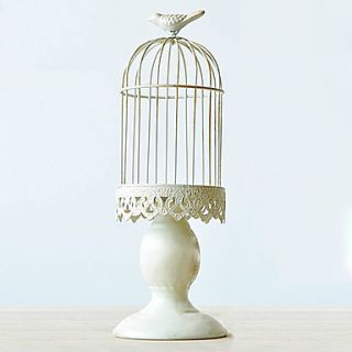 14Country Style Birdcage Type White Metal Candle Holder