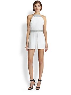 Line & Dot Backless Tweed Trimmed Textured Short Jumpsuit   White