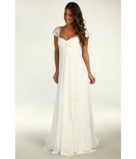 Nicole Miller Chiffon Gown With Embellished Cap Sleeves Womens Dress (White)