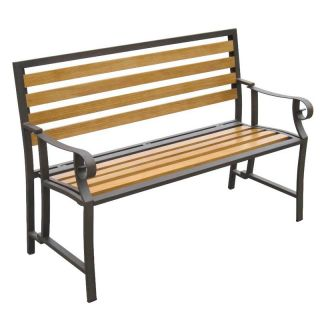 DC America Portable Folding Garden Bench   Bronze Steel Frame and Wood Slats