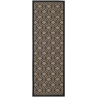Safavieh Indoor/ Outdoor Courtyard Brown/ Black Rug (23 X 67)
