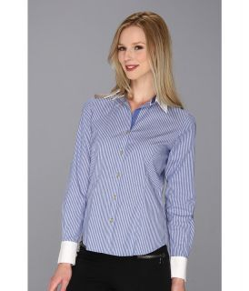 Anne Klein Light Blue Stripe Shirting Top Womens Clothing (Multi)