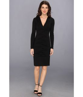 Nicole Miller Heather Jersey V Neck L/S Tucked Dress Womens Dress (Black)