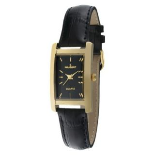 Womens Peugeot Gold tone Black Dial Leather Strap Watch   Black