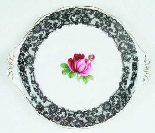 Royal Albert Senorita Handled Cake Plate, Fine China Dinnerware   Black Floral L