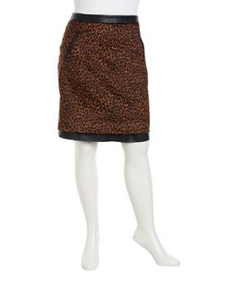 Sebastian Animal Print/Faux Leather Pencil Skirt, Womens