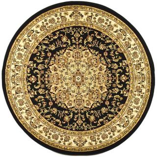 Lyndhurst Collection Black/ Ivory Area Rug (53 Round)