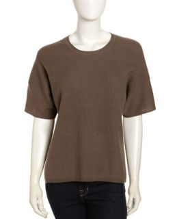 Cashmere Ribbed Knit Short Sleeve Sweater, Mahogany