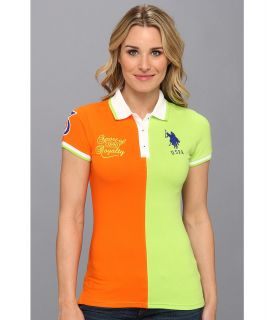 U.S. Polo Assn Two Toned Color Block Polo Womens Short Sleeve Knit (Green)