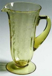 Fostoria June Topaz/Yellow 48 Oz Pitcher   Stem #5098, Etch #279, Yellow