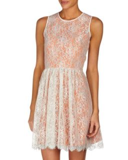 Fit And Flare Metallic Lace Dress, Canteloupe