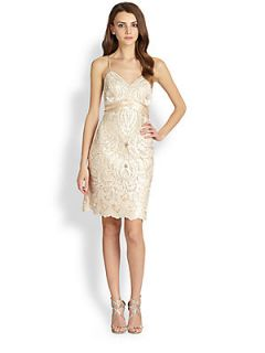 Sue Wong Beaded Accent Embroidery Dress   Champagne