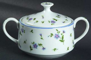 Mikasa Petit Fleur Sugar Bowl & Lid, Fine China Dinnerware   Couture,Blue Flower