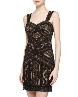 Sleeveless Fitted Lace Dress, Black/Nude