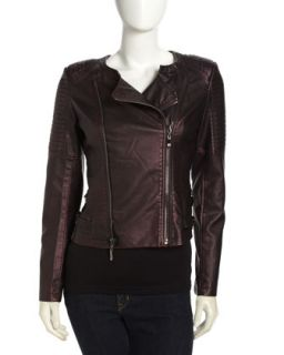 Faux Leather Quilted Sleeves Moto Jacket