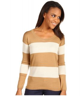 Anne Klein Stripe Pullover Womens Long Sleeve Pullover (White)