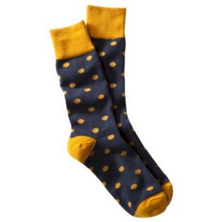 Merona Mens 1pk Dress Socks   Navy/Gold Polka Dots