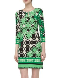 Three Quarter Geometric Print Stretch Knit Dress, Spring Green