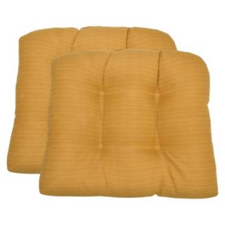 Threshold 2 Piece Outdoor Wicker Chair Cushion Set   Yellow Textured