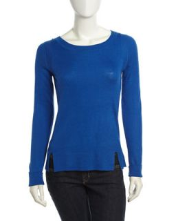 Long Sleeve Ribbed Sweater, Baltic